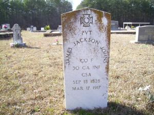 James Jackson Johns's Grave in Paulding Co., Georgia, courtesy of FindAGrave.com