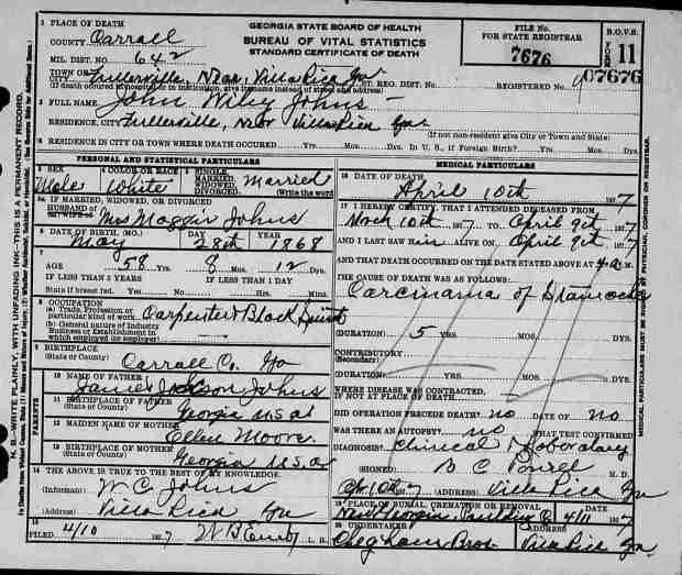 John Wylie Johns Death Certificate