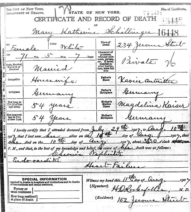 Mary Katherine Schillinger Death Certificate