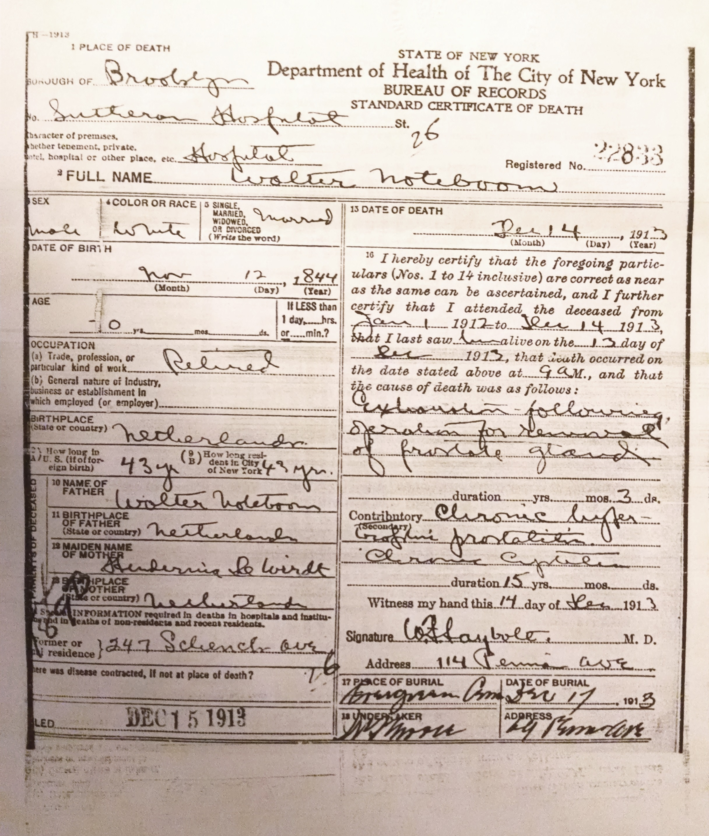Vital records roots of kinship transcript of christianes death certificate aiddatafo Images