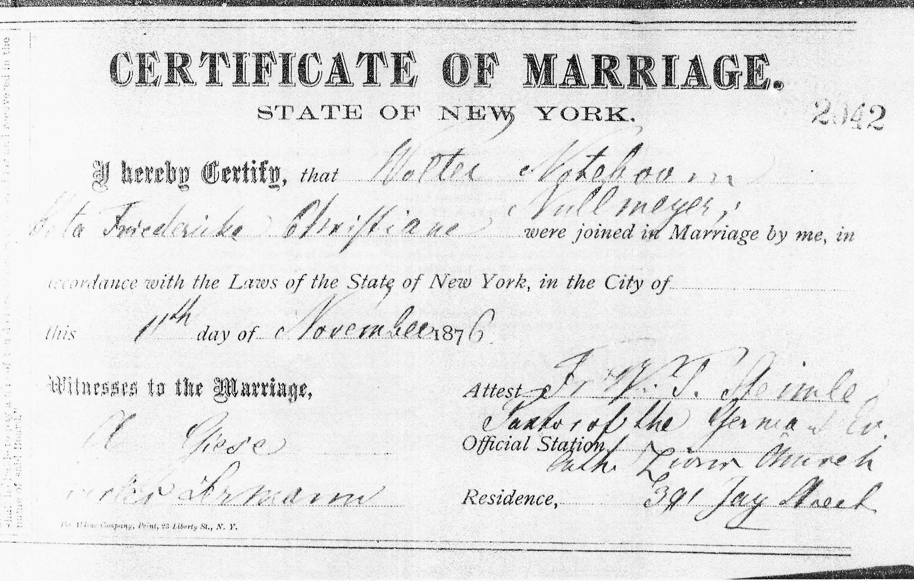 New york city roots of kinship 47 walter noteboom marriage certificate to beta nullmeyer 1 1betcityfo Gallery