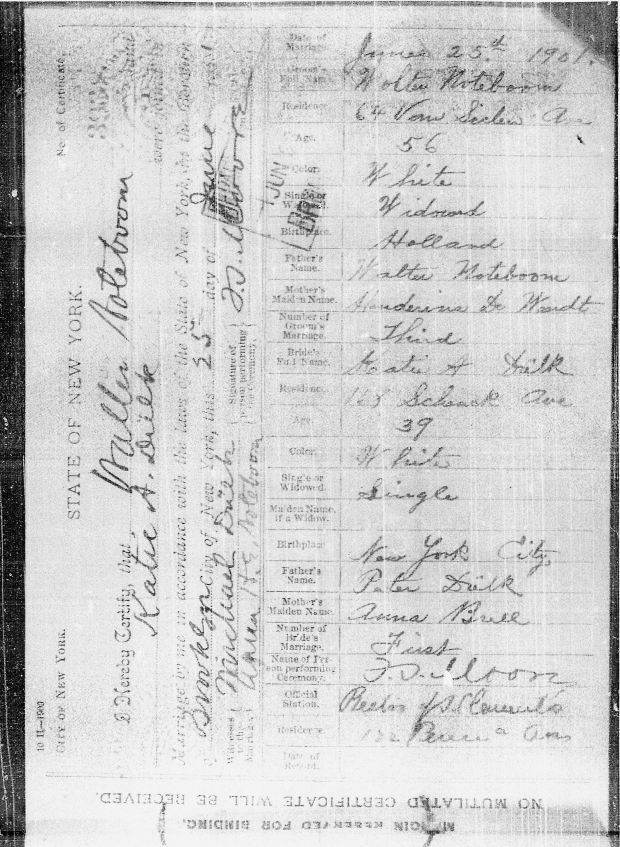 47 - Walter Noteboom marriage certificate to Kate Dulk - 1