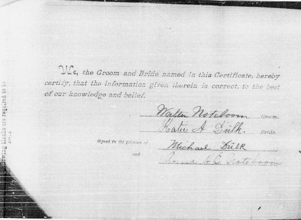 47 - Walter Noteboom marriage certificate to Kate Dulk - 2