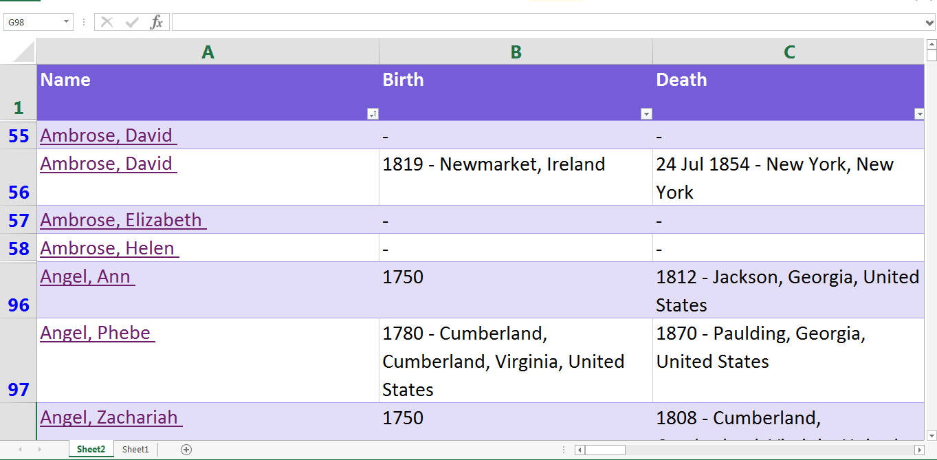 Excel roots of kinship my family list in excel alramifo Choice Image